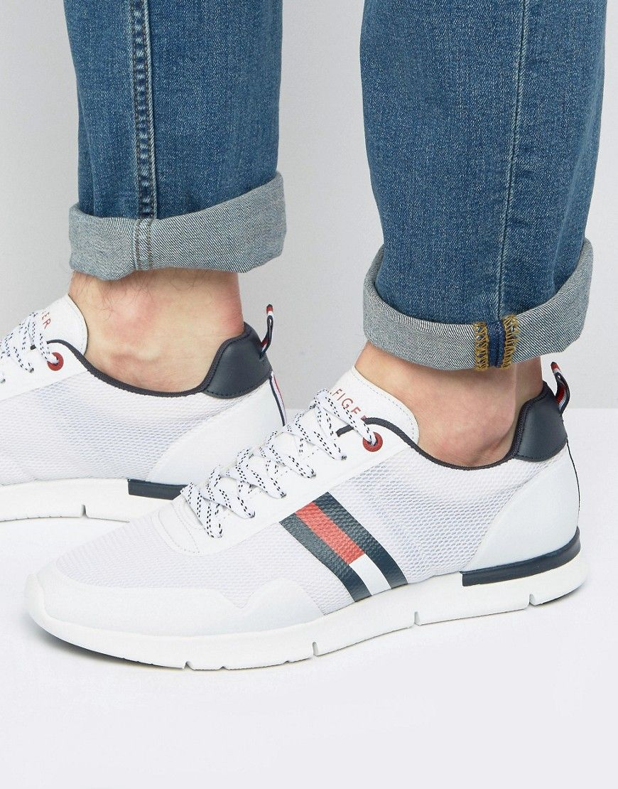 1e8a9fecc168 TOMMY HILFIGER TOBIAS FLAG MESH RUNNER SNEAKERS - WHITE.  tommyhilfiger   shoes