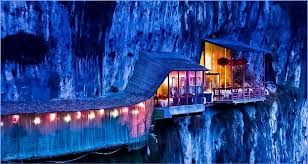 Cliff Restaurant in china which is a combination of both a spectacular view and apetizing food.