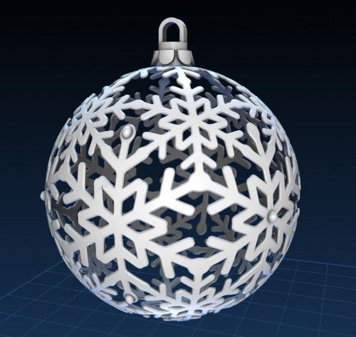 3D printed made in USA Ornament White Snowflake-2019