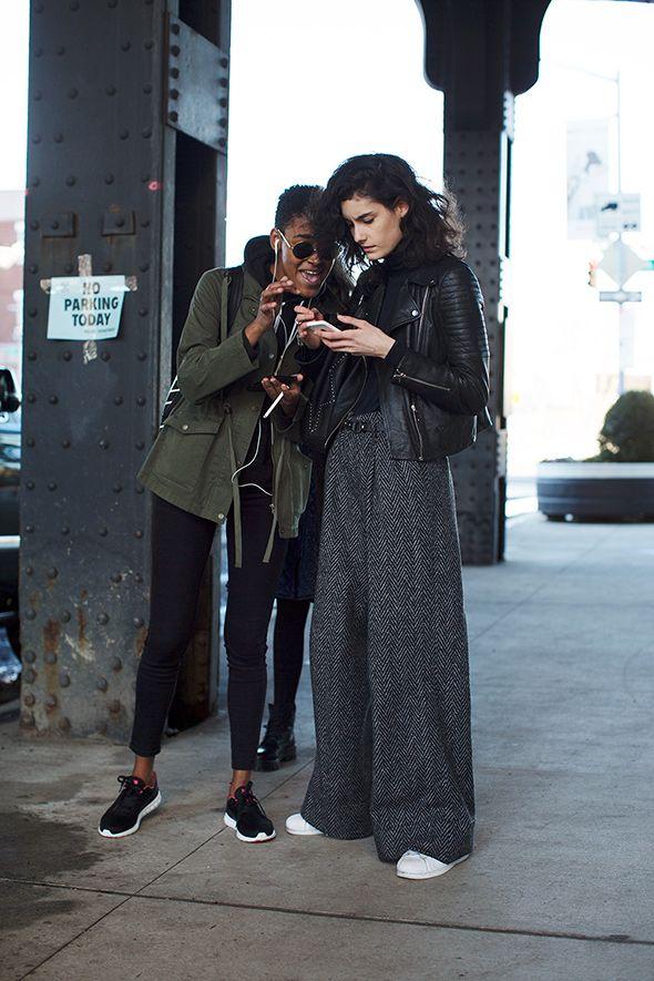 Parka Coat + Skinny JEans + Sneakers | Leather Biker Jacket + Wide Leg Trousers + Sneakers