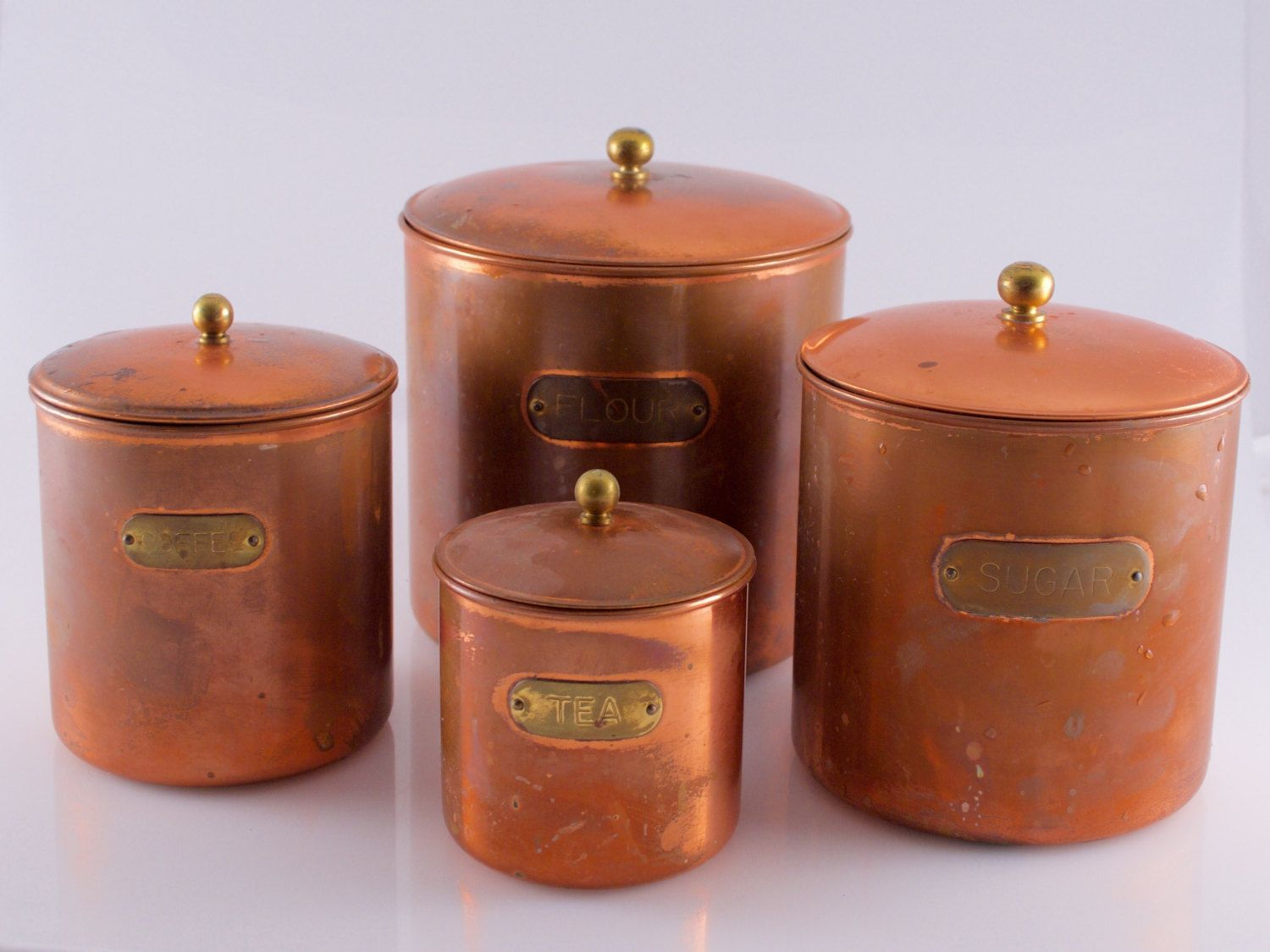 Complete Copper Canister Set Four Kitchen Canisters Flour