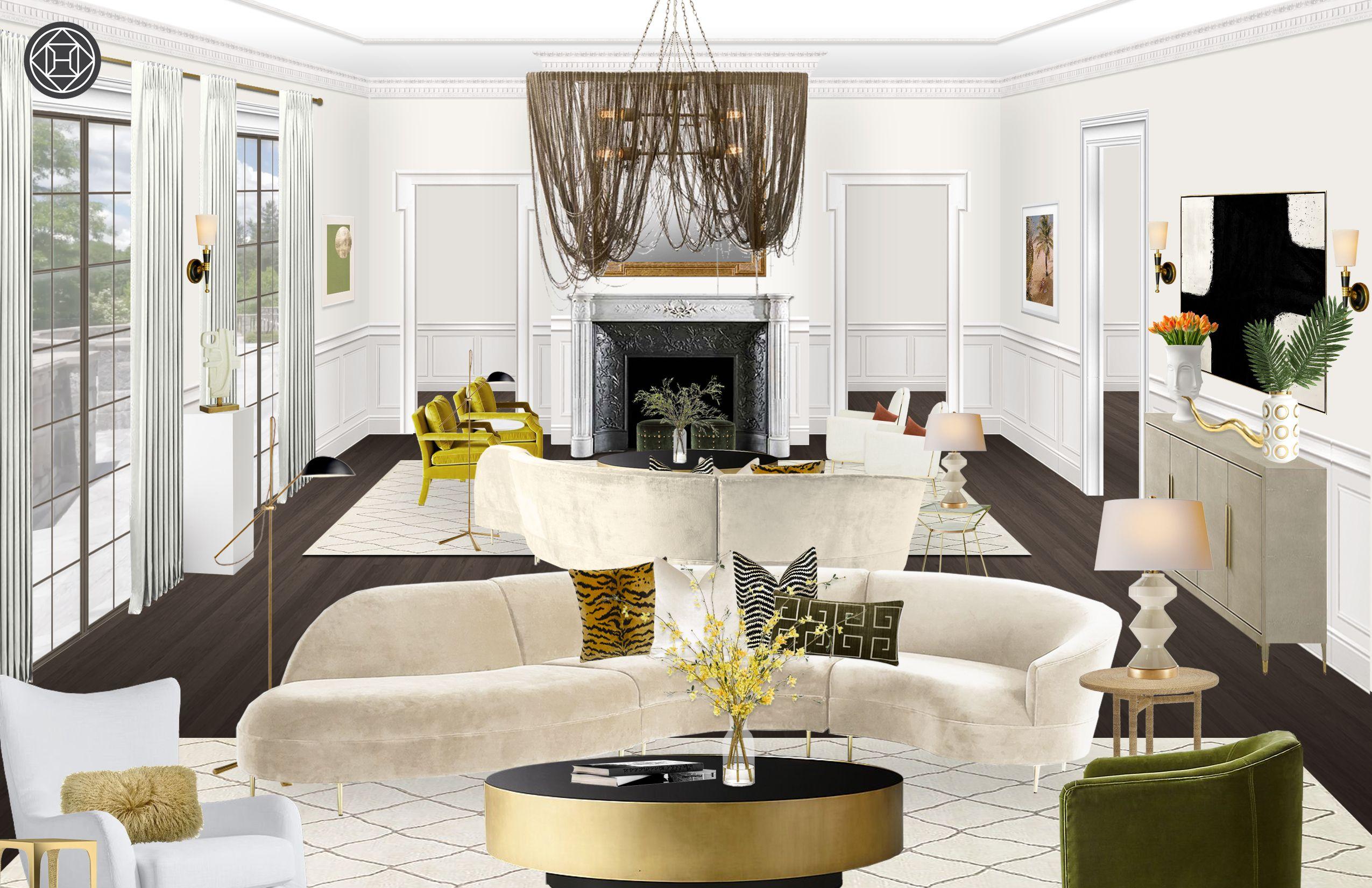 Contemporary Modern Glam Midcentury Modern Living Room Design