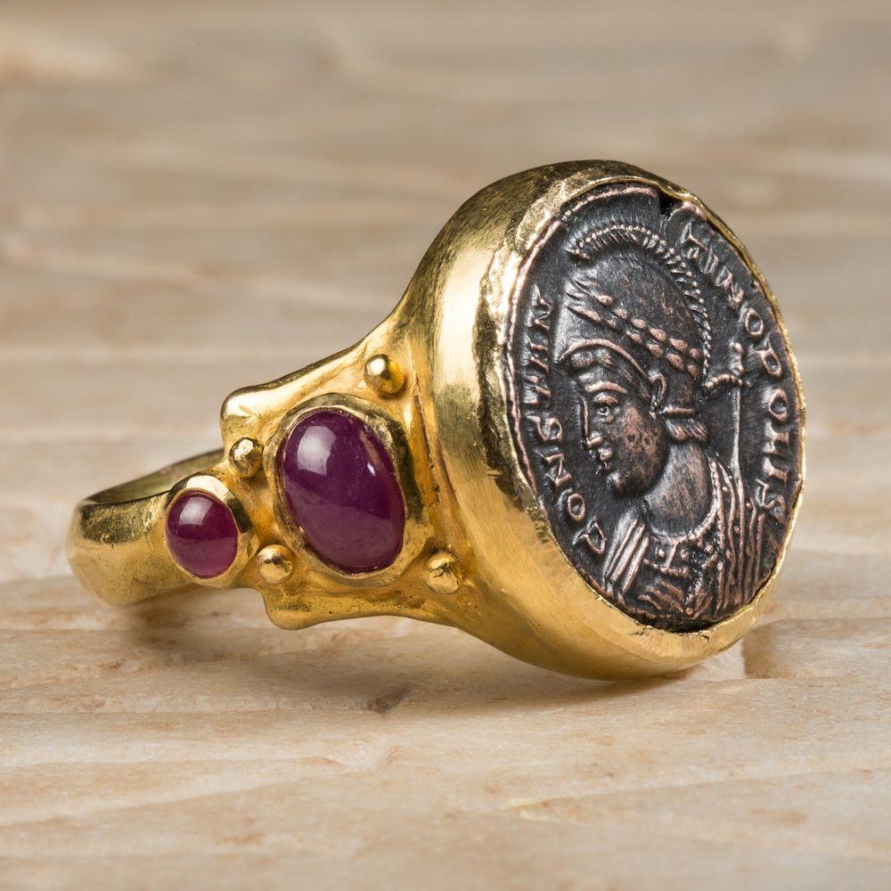 755758e45bff4 EMPEROR CONSTANTINE COIN RING – ROMAN EMPIRE ºº   Roman Emperors ...