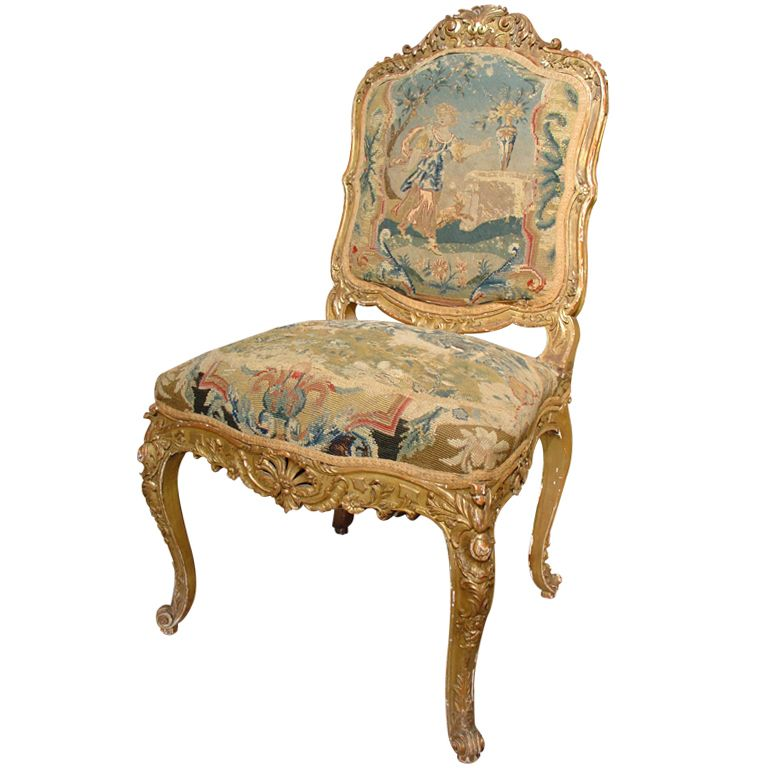 Superior Circa 1800 French Giltwood And Tapestry Chair 4800   From A Unique  Collection Of Antique And