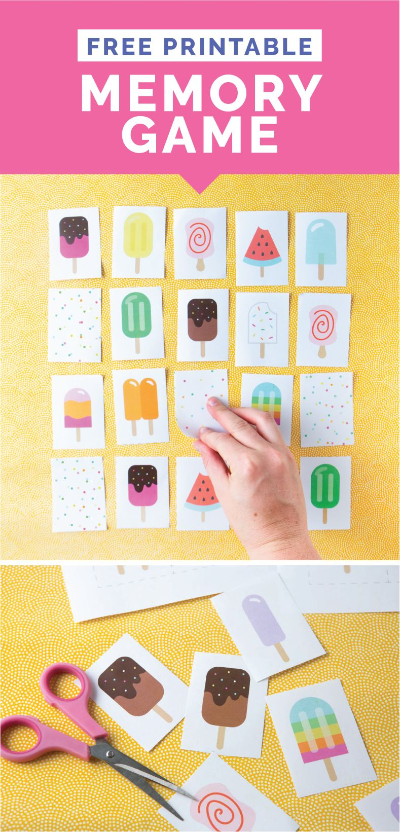 Download your copy of this FREE popsicle-themed Printable Memory Game for Kids! Great for kids and students ages 3-12!
