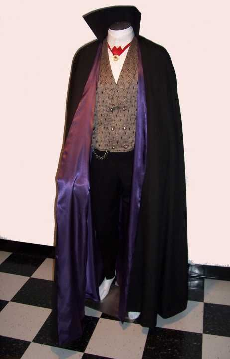 Details about Men's Cape Black Cloak with Velvet Collar S XXL Formal
