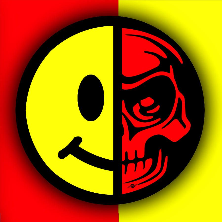 smiley-face-skull-yellow-red-shadow-tony-rubino.jpg (900×900)