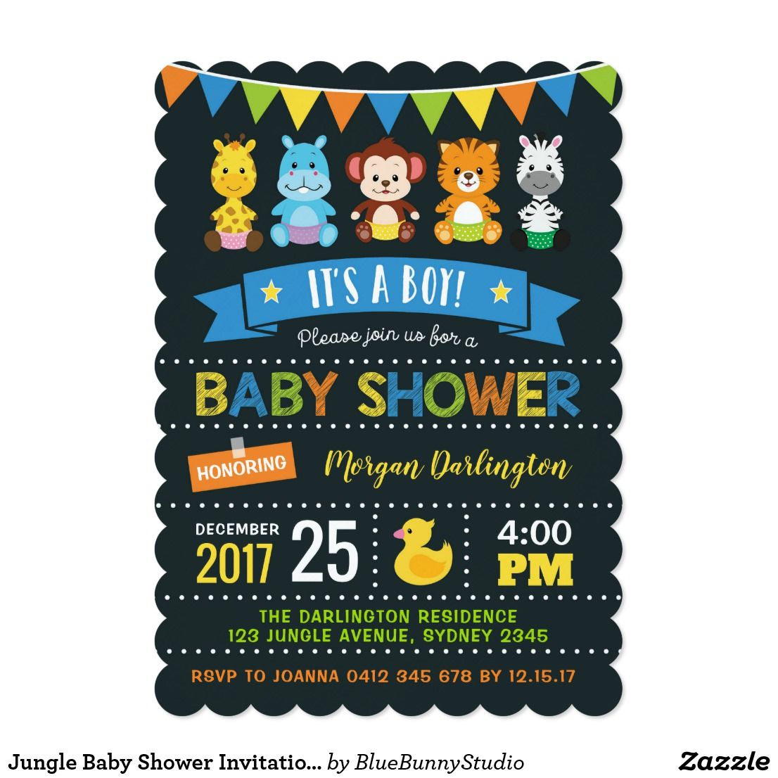 Jungle Baby Shower Invitation Boy Safari Invite Zazzle Com