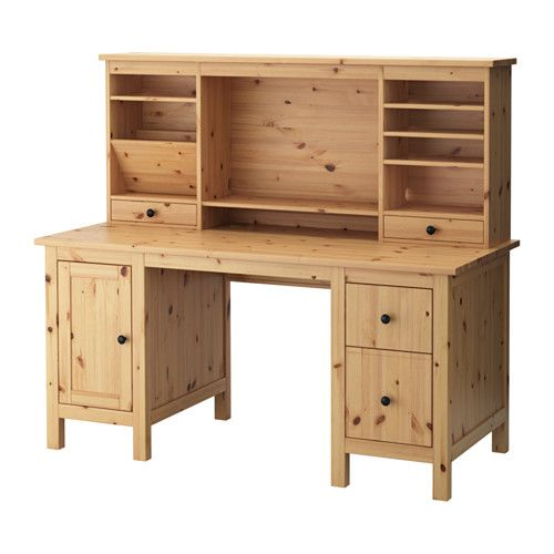 HEMNES Desk With Add On Unit IKEA Solid Wood Is A Durable Natural Material.