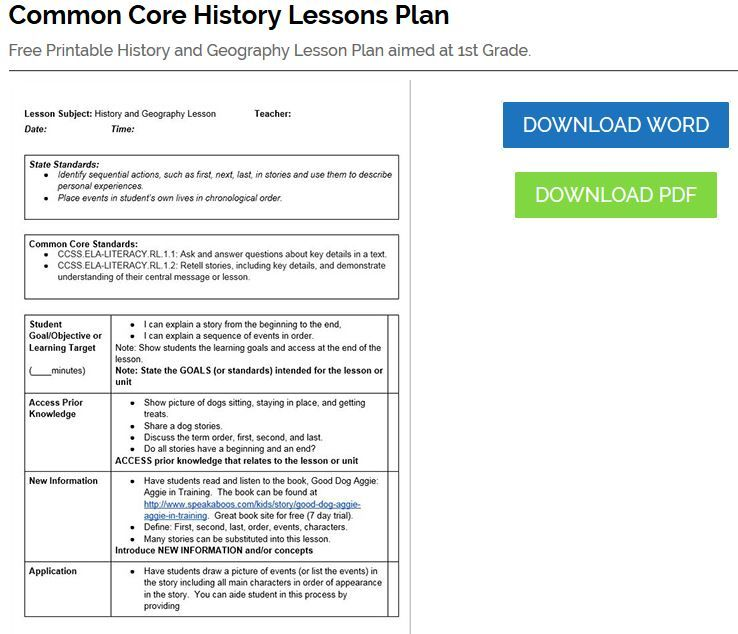 History Lesson Plan Editable Common Core Lesson Plan Template - History lesson plan template