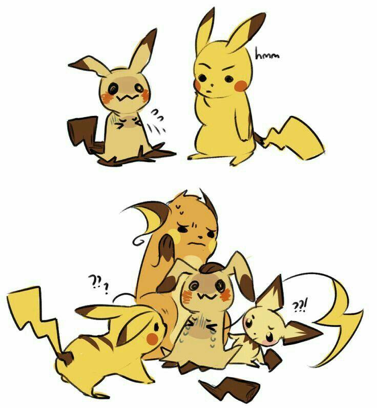 Mimikyu, Pikachu, Pichu, Raichu, evolution, funny, comic, text