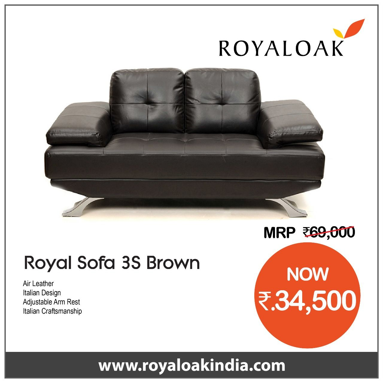 Buy Royaloak Royal Three Seater Leatherette Sofa Brown By Royaloak At The Lowest Price In India Buy Three Seater Sofas Sofas Living From Royaloak At The Sofa