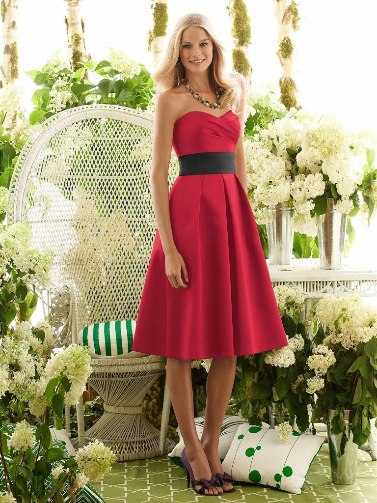 enchanting-short-satin-red-bridesmaid-dress-with-black-belt- | Red ...