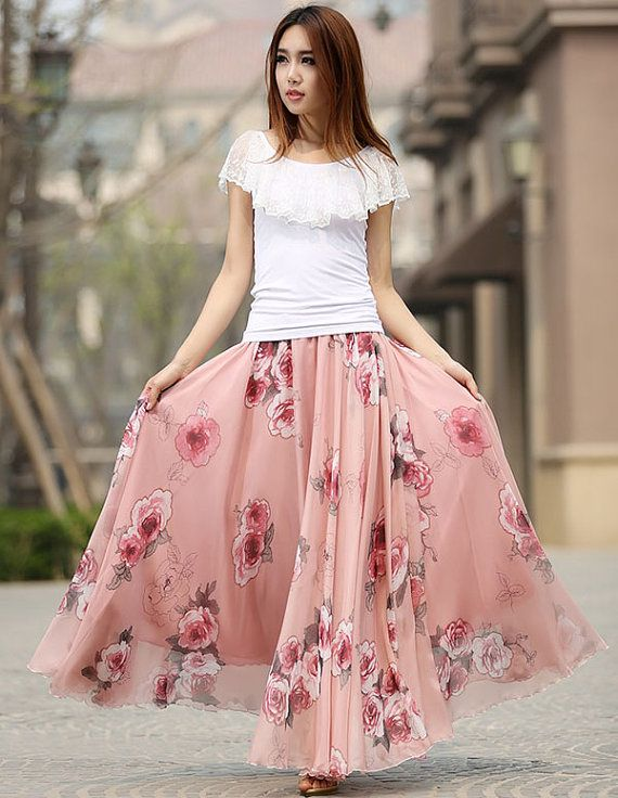 summer Chiffon maxi long skirt summer elegant floral print plus ...