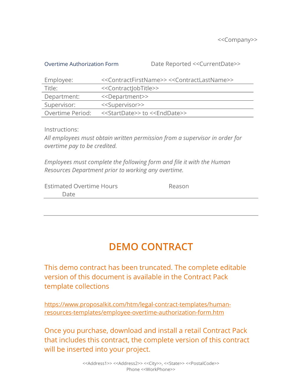 Employee Overtime Authorization Form Contract Template Professional Templates Easy Step