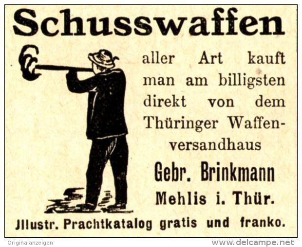 Original-Werbung/ Anzeige 1911 - SCHUSSWAFFEN BRINKMANN -  MEHLIS IN THÜRINGEN - ca. 45 x 40 mm