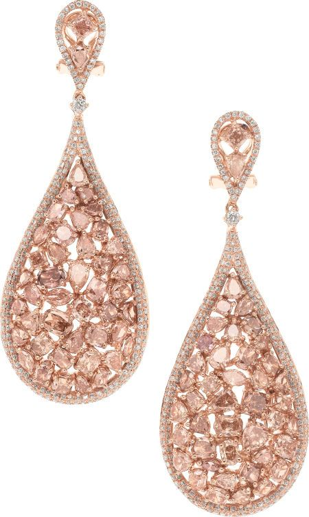 Pink Diamond And Rose Gold Earrings Full Cut Pear Marquise Oval Cushion Shaped Diamonds Ranging In Color From Fancy Light Brownish