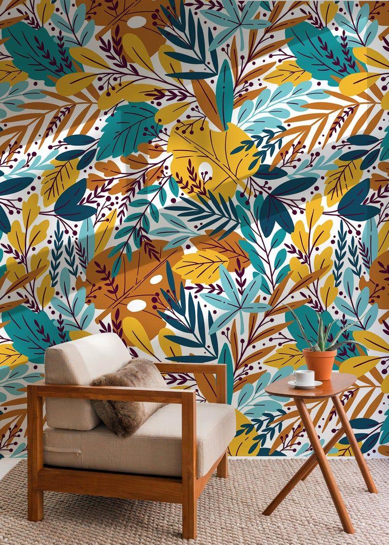 Autumn Leaves Wallpaper Removable Wallpaper Peel And Stick Etsy Autumn Leaves Wallpaper Leaf Wallpaper Removable Wallpaper