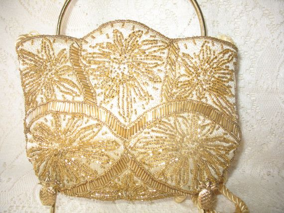 Vintage Evening Bag 1980s Beaded Purse by LittleBitsofGlamour, $26.00