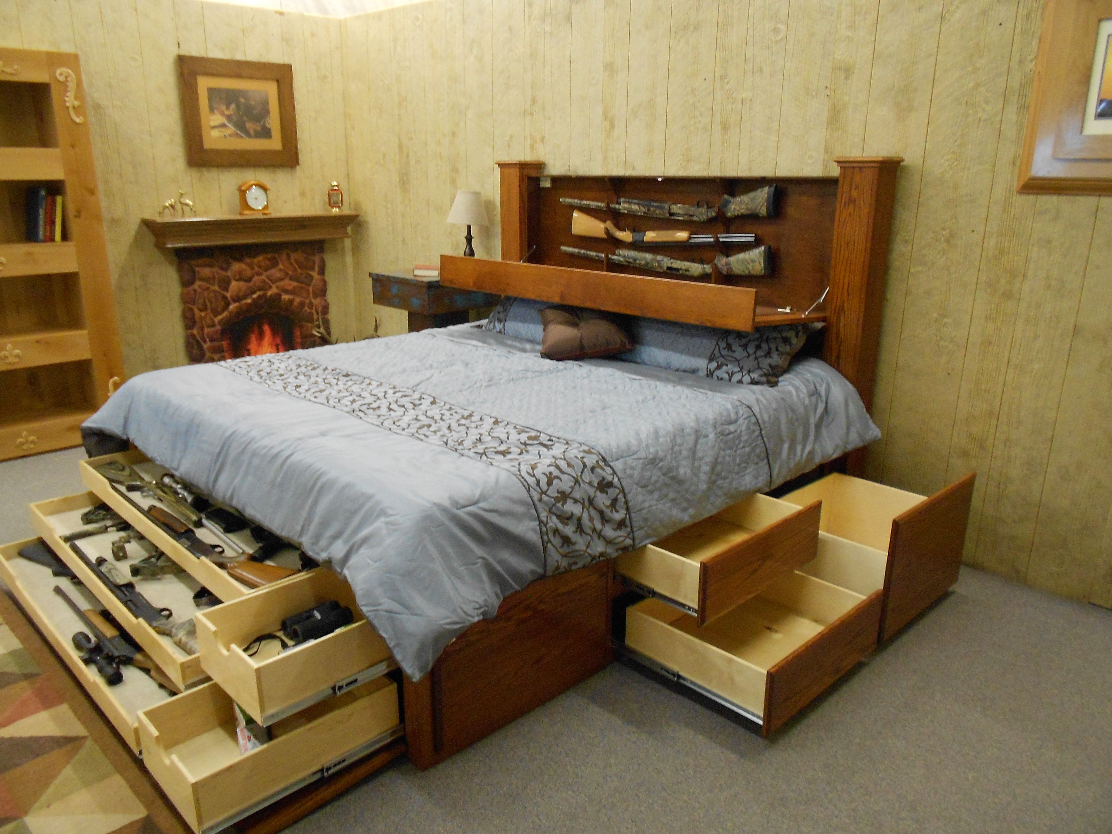 King Size Platform Bed With Storage And Bookcase Headboard | room ...