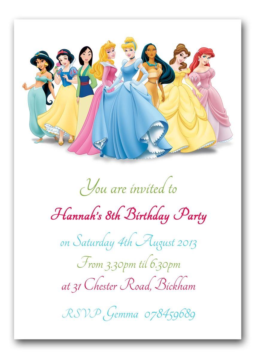 Personalised Invite Childrens Birthday Party Invitations Princesses ...