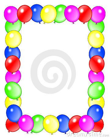 Birthday Balloons | Stock Photo: Birthday Balloons Border Frame . Balloons illustration ...