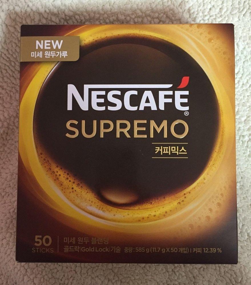 Nescafe Supremo Korea Instant Coffee Gold Lock Technology 50 Sticks In A Box