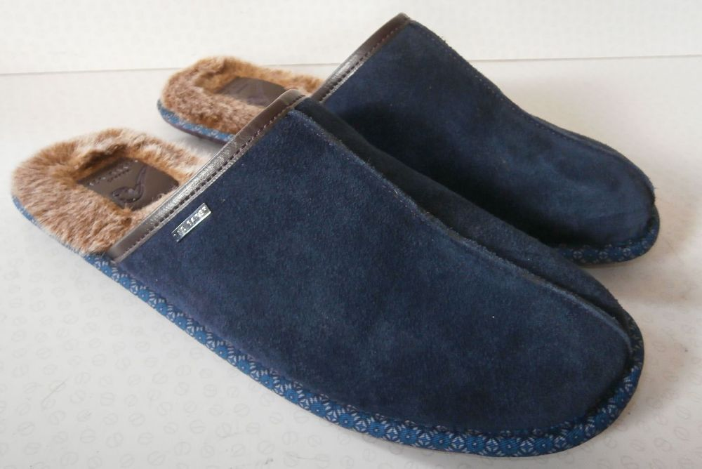 113448b79ad6e MENS SIZE 11 TED BAKER YOUNGI MULE SLIPPERS NAVY BLUE SUEDE House Shoes 45 # TedBaker