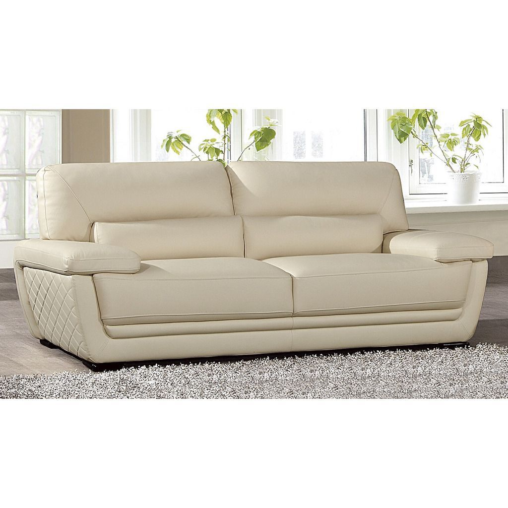 American Eagle Cream Italian Leather Sofa, Beige