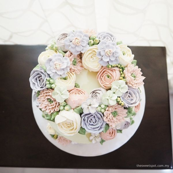 Enchanted Lilac And Pink Buttercream Flower Cake