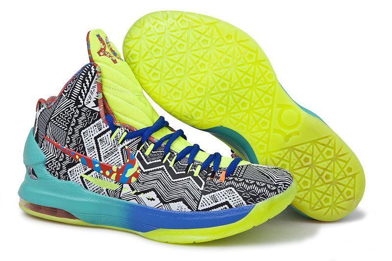 Nike Kevin Durant KD V Chaussures de Basket-Bleu Vert-Blanc Noir Impression
