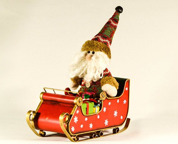 Red Collectible Christmas Sleigh With Santa Claus Miniature