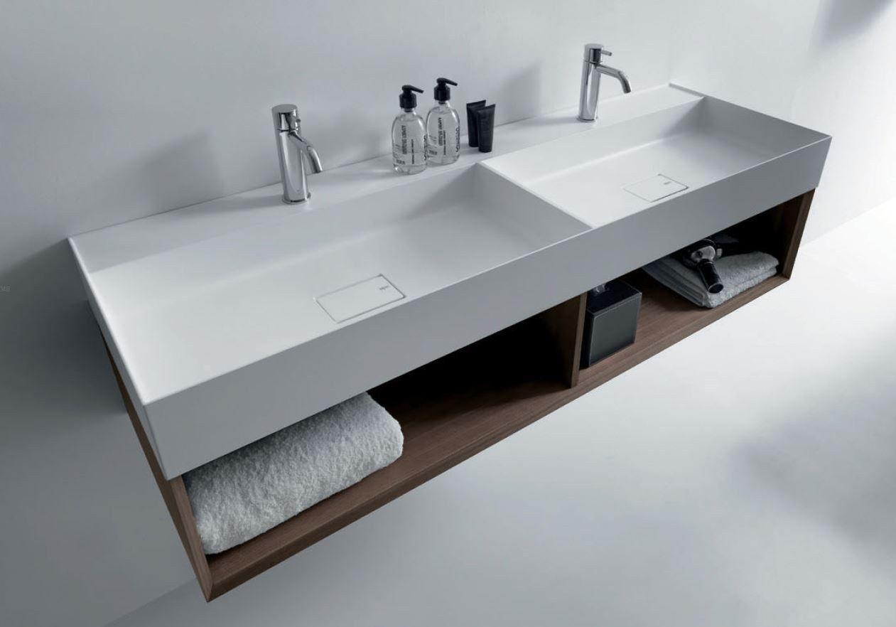 Quattro zero mueble bajo lavabo de madera by falper 2 for Mueble de bano doble lavabo de madera