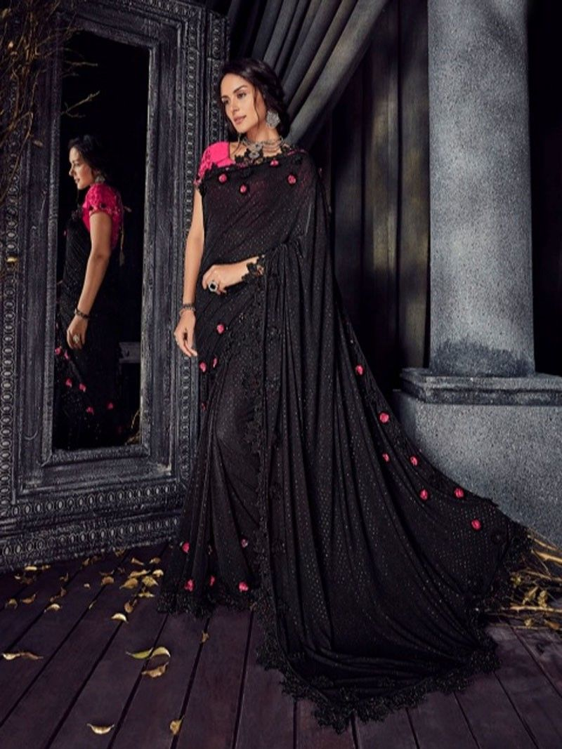 86c156249abb1 Latest Indian Designer Wedding Party wear Women Fancy Black Flower ...