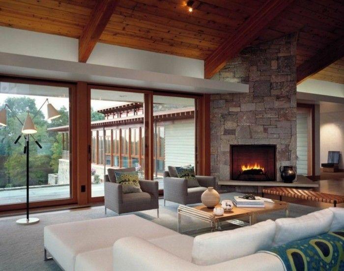 wohnideen wohnzimmer weiße möbel kamin panoramafenster holz - wohnideen für wohnzimmer