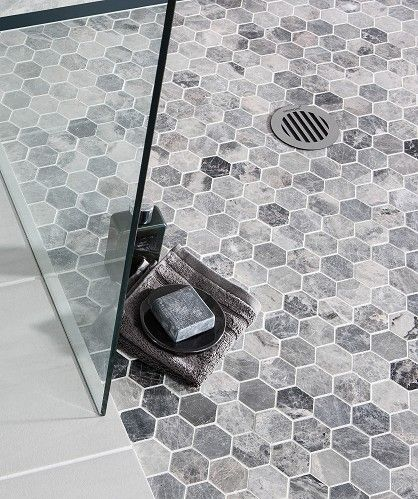 Mira Grey Mosaic Hexagonal Topps Tiles Shower Floor Tile Bathroom Shower Tile Shower Floor