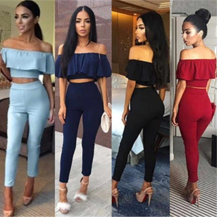ae193b746 Fashion Lady Women s Summer T-Shirt Off Shoulder Blouse Crop Top+Pants  Trousers