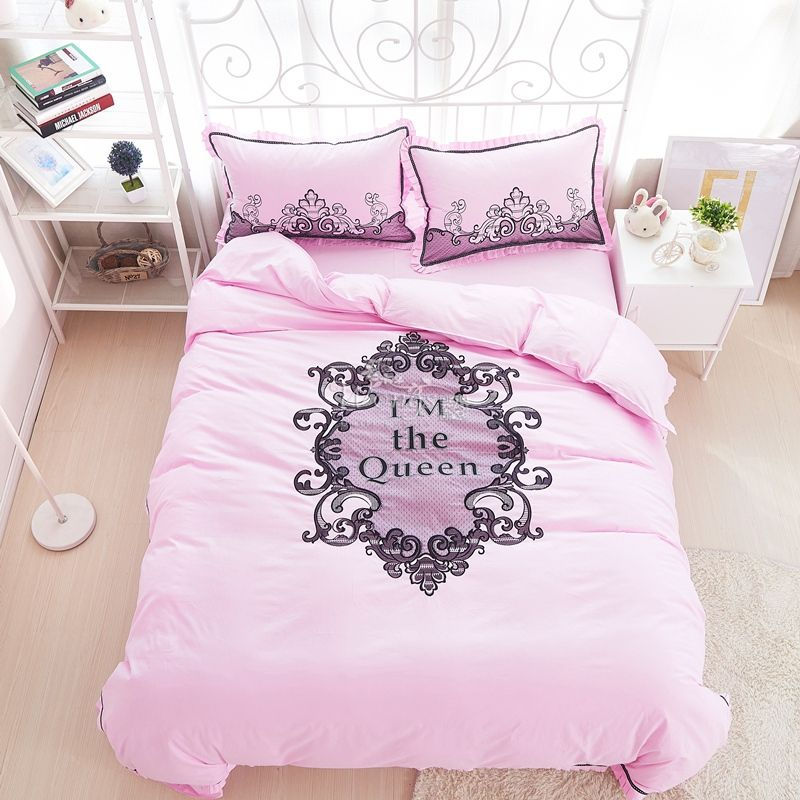 Luxury Embroidery lace Bedding Sets 100 cotton white pink bedsheet
