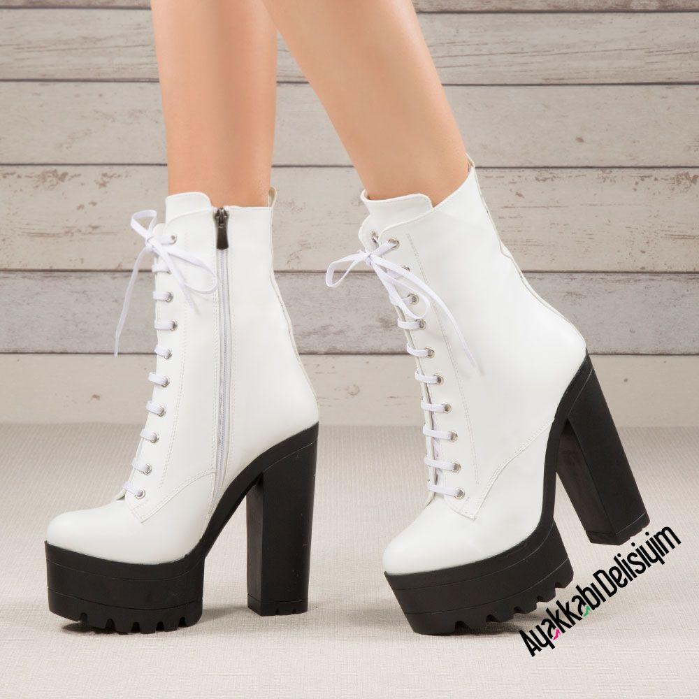 Molvil Beyaz Yuksek Topuklu Bot Topuklular Bot Bayan Ayakkabi