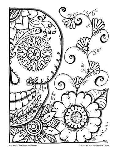 Halloween Coloring Page Sugar Skull For Adults And Grown Ups Drawn By Jennifer