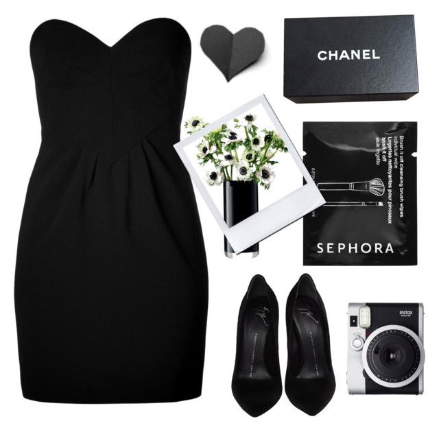"""🍷🌑"" by parkmona ❤ liked on Polyvore featuring Moschino, Sephora Collection, Giuseppe Zanotti, Fuji, LSA International and Chanel"