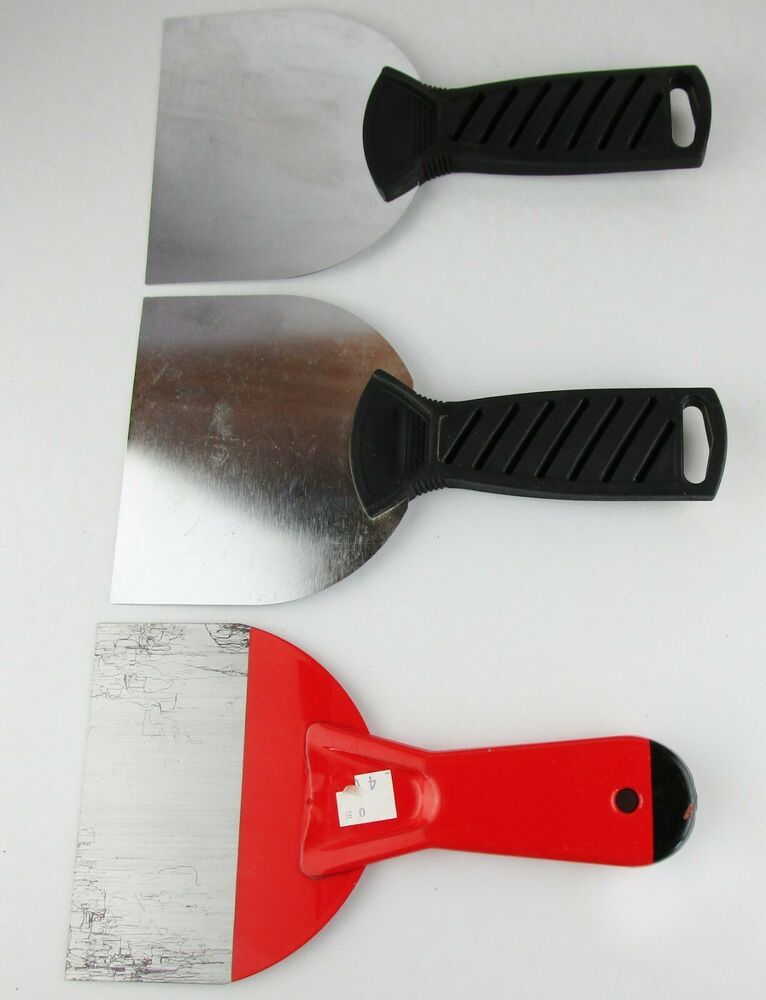 Lot Of 3 Putty Knives Knife Paint Scraper Tools Plastic Metal Handles Unbranded Putty Knives Paint Scrapers Knife Painting