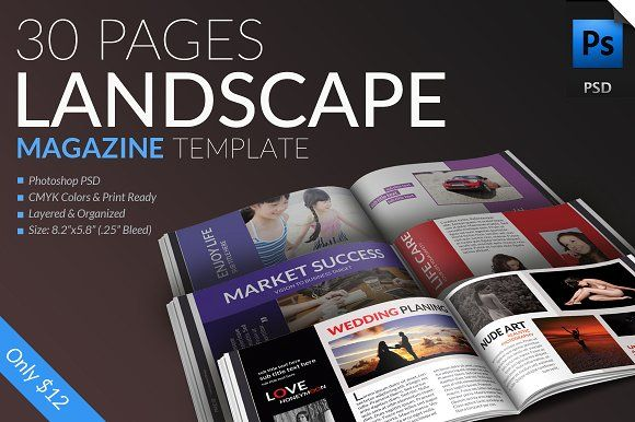 landscape magazine template 30pages by pmvch on creativemarket