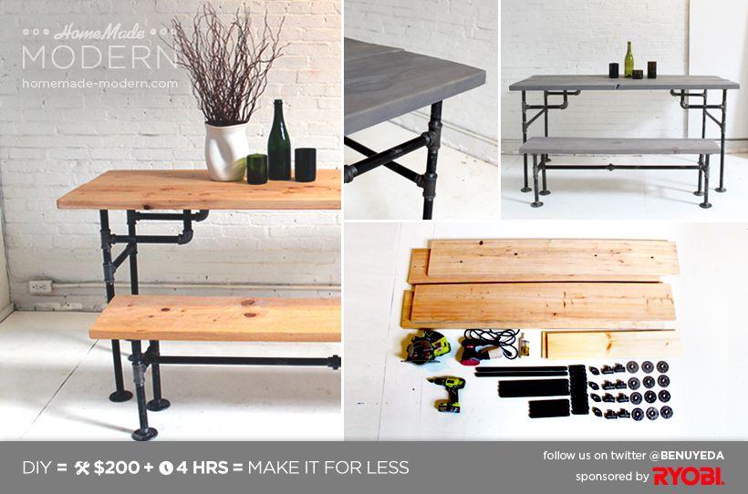 HomeMade Modern DIY EP3 Wood and Iron Table Postcard Fun with