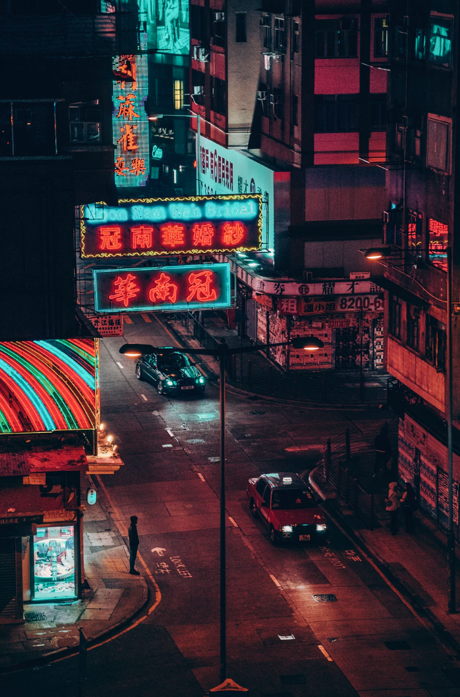 Busy Neon Street Photo In Asia City Aesthetic Neon Wallpaper Neon Aesthetic