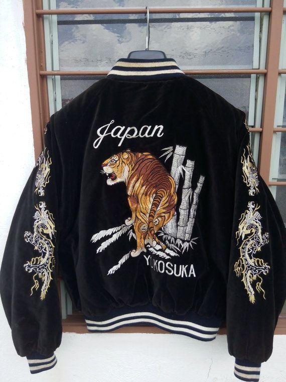 Sukajan Tokyo Japan Maroon RIVERSIBLE Velvet Jacket Phoenix