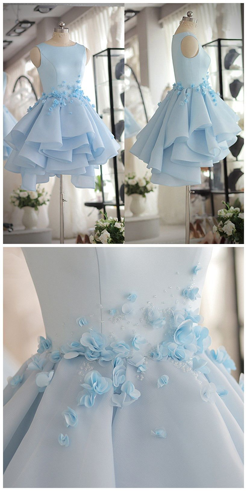 Light Blue Satin Organza Short Party Dress With Beads And Handmade ...