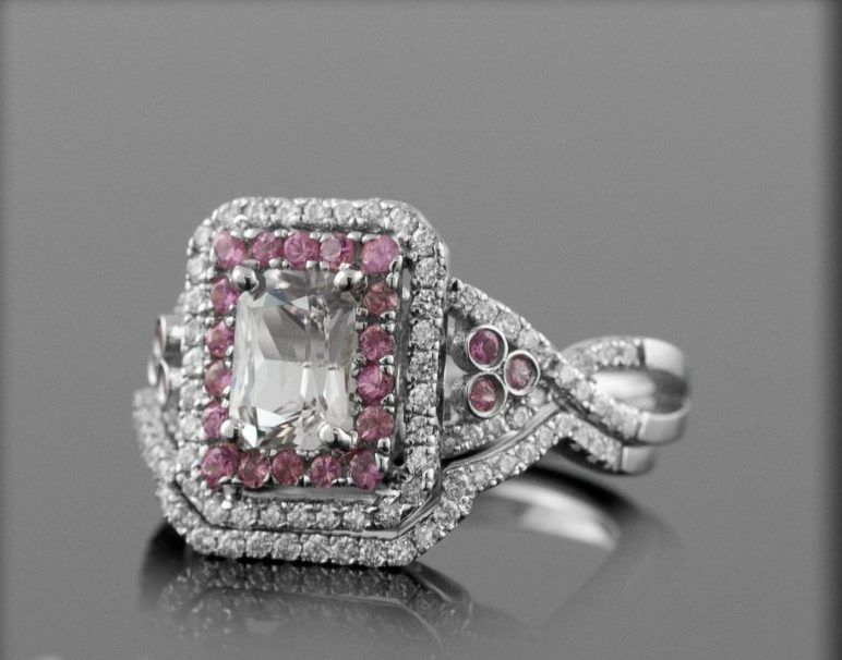 ring enchanting pink sapphire and diamond wedding ring sets - Pink Wedding Ring Set