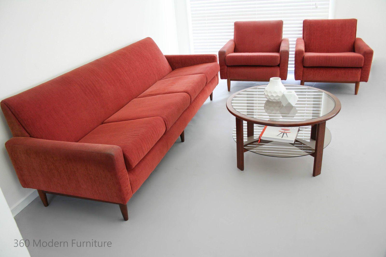 Mid Century PARKER Lounge Suite Sofa 4 Seater Couch 2 2m & Arm