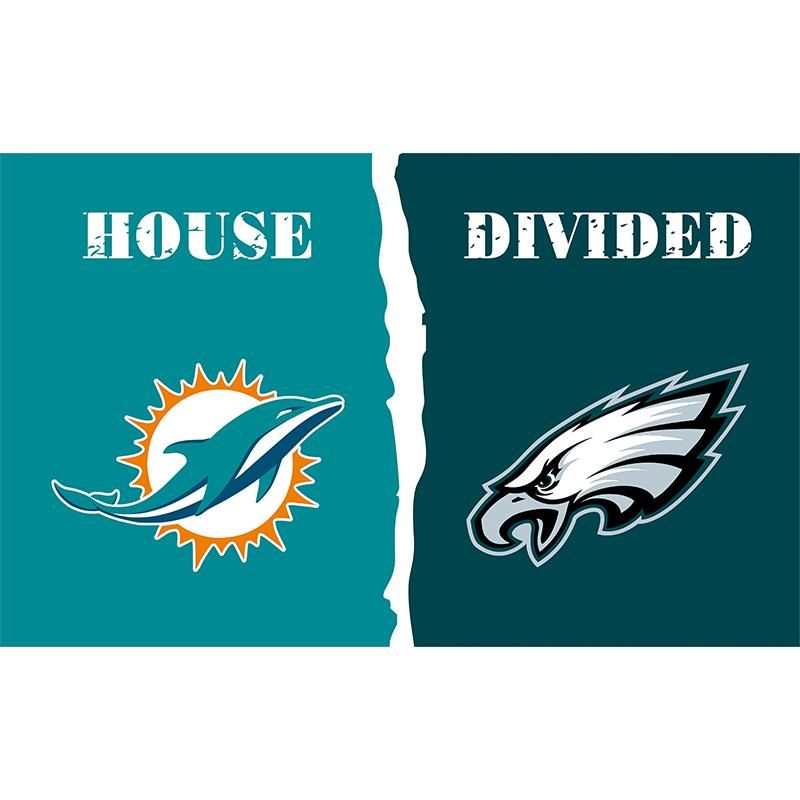 Miami Dolphins and Philadelphia Eagles house divided flag